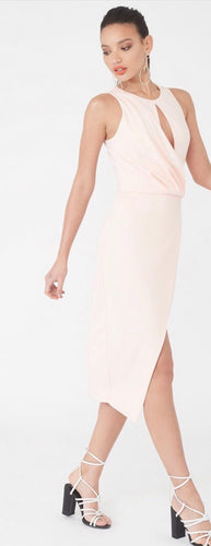 Lavish Alice drape asymmetric wrap midi dress