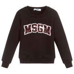 MSGM Girls Black Sequin Sweatshirt