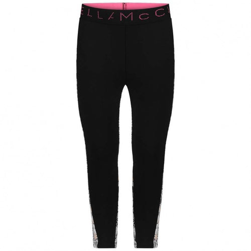 STELLA McCARTNEY GIRLS BLACK SPORTY LEGGINGS