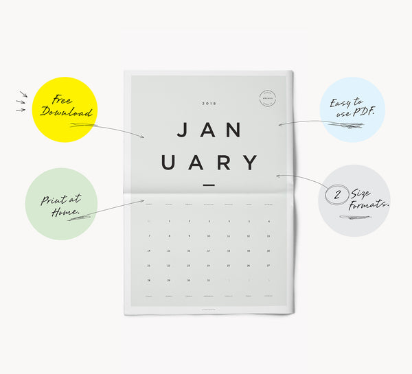 Free 2018 Printable Monthly Calendar