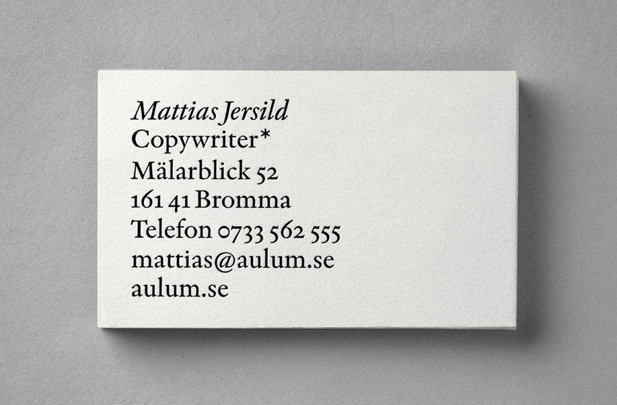 Typographic Business Card: Design Agency BVD