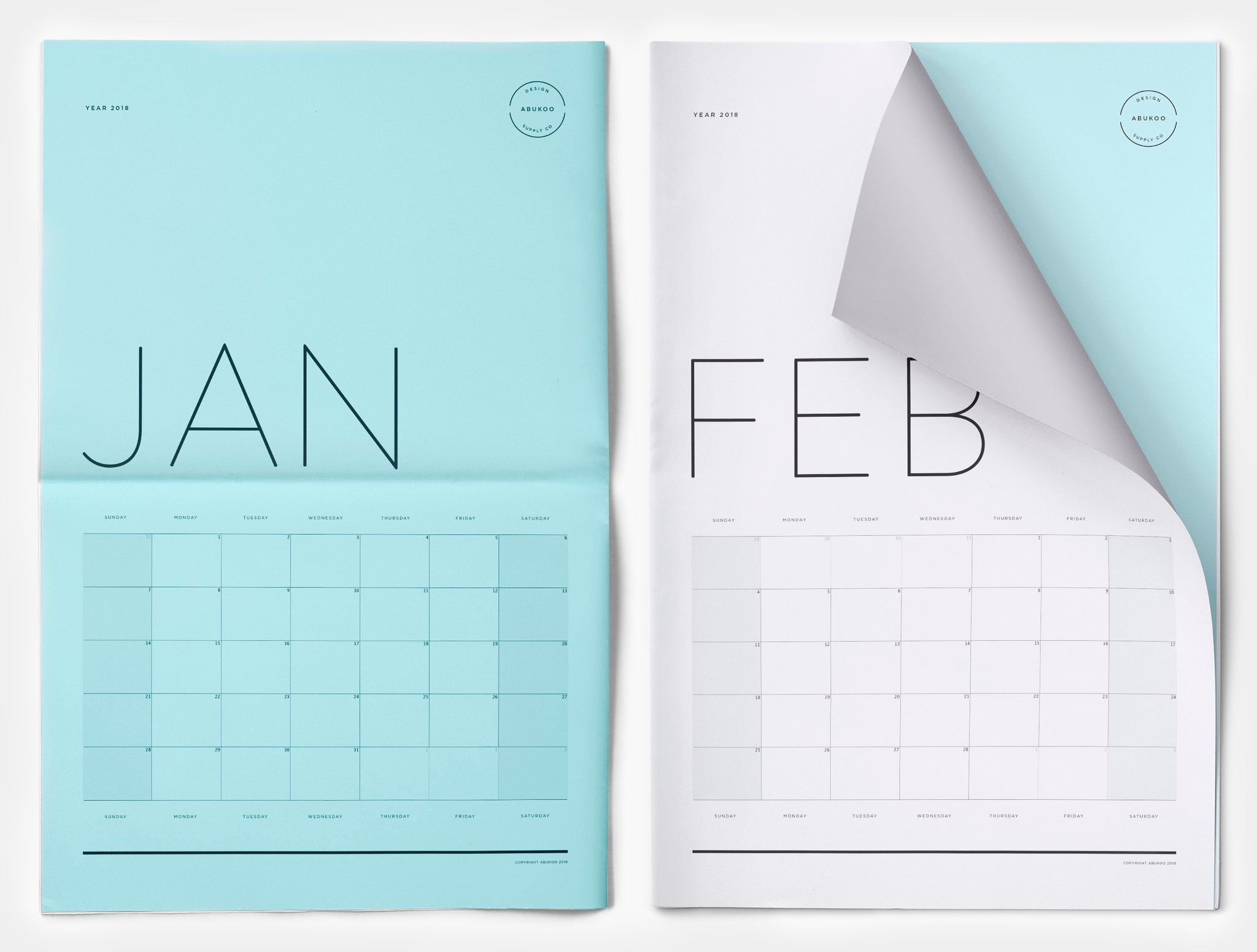 free 2018 printable monthly calendar design digital download
