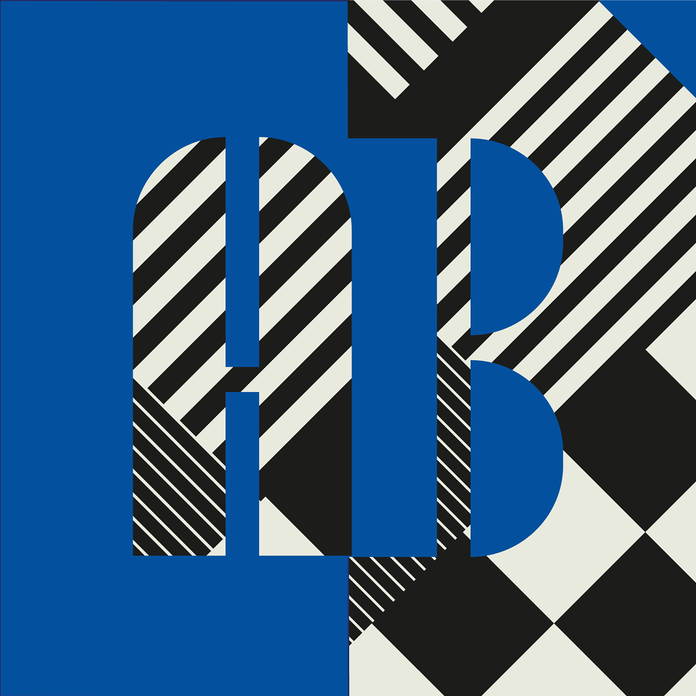 Blue pattern typography