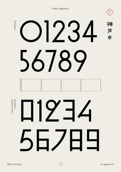 Kobe font numbers by VJ Type