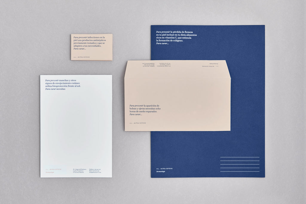 Minimalist business card and stationery design for Altea Esteve
