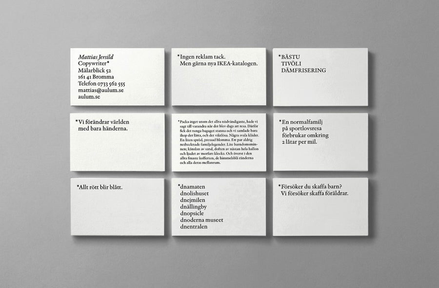 minimal typographic Business Card Mattias Jersild