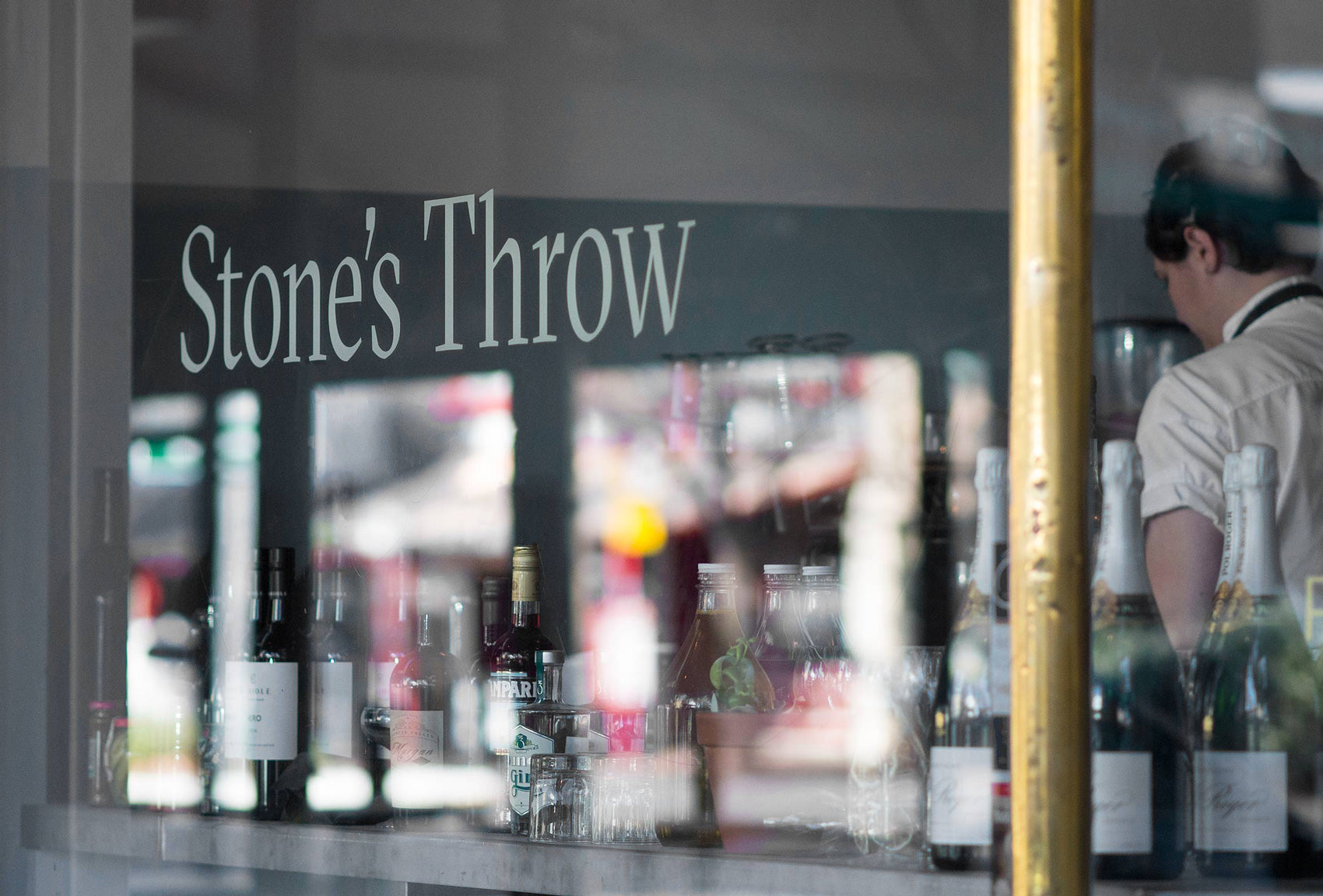 Stones throw signage design