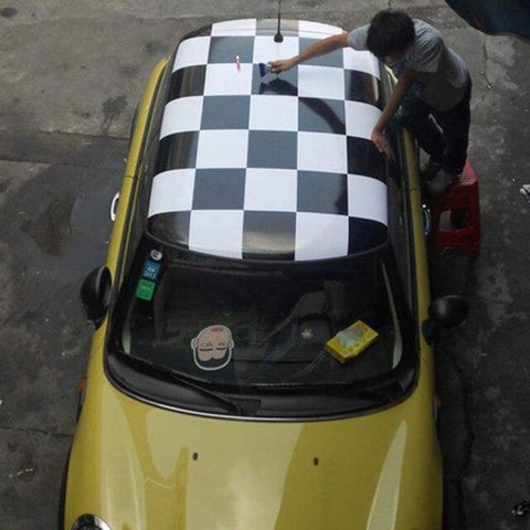 Checker Union Jack Roof Vinyl For Mini Cooper R56 Car