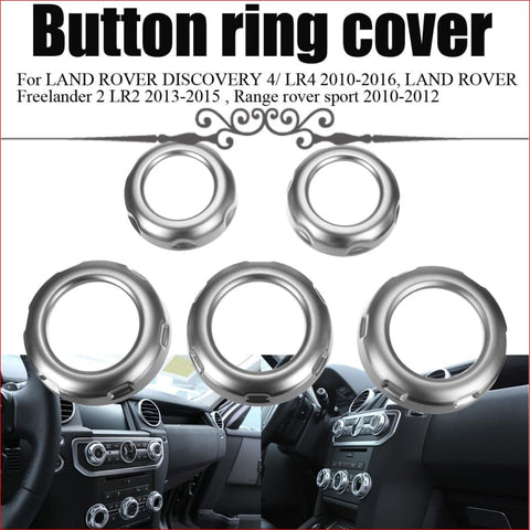 5Pcs Car Dashboard Console Switch Button Ring Cover Trim Auto Styling Chrome For Land Rover