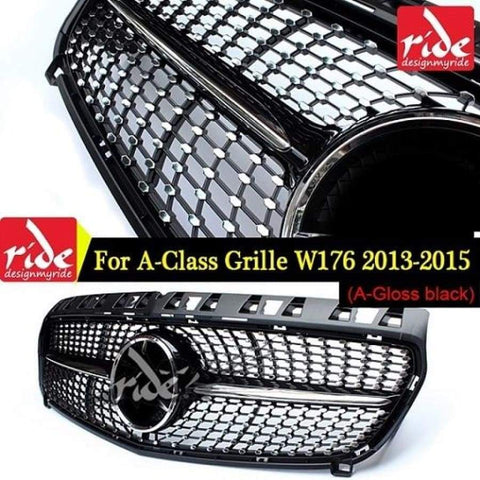 Diamond Front Grille For Mercedes Benz A-Class W176 Gloss Black Without Emblem Badge Abs Replacement