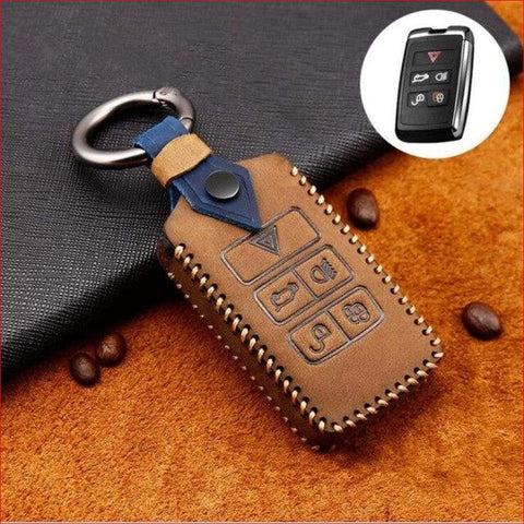 Genuine Leather Key Cover Case Pocket For Land Rover Range Sport Evoque Velar Discovery 5 2018 Brown