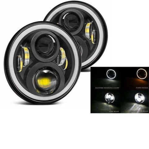Led Headlights For Land Rover Defender 50W Black Halo