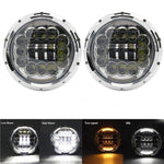 Led Headlights For Land Rover Defender 90W Chrome