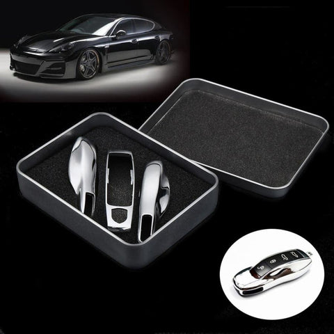 Premium Porsche3Pcs Chrome Silver Remote Key Case Car