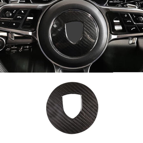 Real Carbon Fiber For Porsche 911 718 Cayenne Macan Panamera Car Steering Wheel Decoration Panel