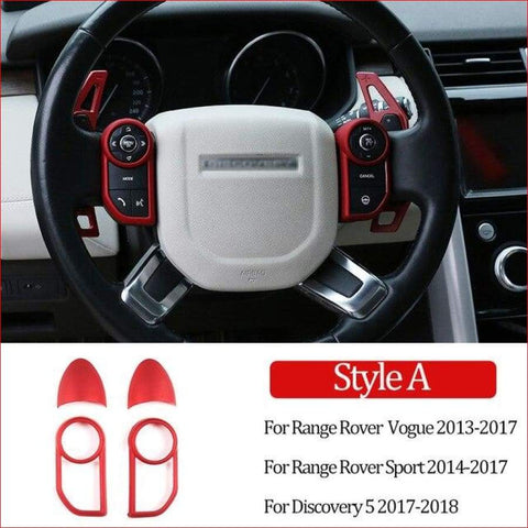 Red Steering Wheel Button Decorative Frame Vogue Sport Discovery Evoque 2013-2017 Car