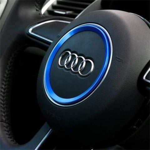 Aviation Aluminum Alloy Car Steering Wheel Decoration Ring Sticker Logo Decals Styling For Audi A3