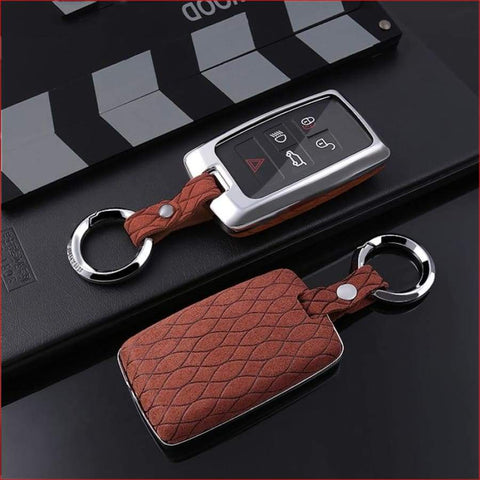 Suede Leather Car Key Case Cover For Land Rover A9 Range Sport 4 Evoque Freelander 2 Discovery