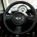 Tefanball Carbon Fiber Car Steering Wheel Stickers Cover Trim For Mini Cooper R55 R56 Countryman R60