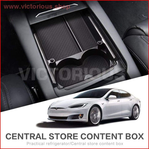 Tesla Model X S Car Central Cup Holder Box Interior Accessories Stowing Tidying Center Console