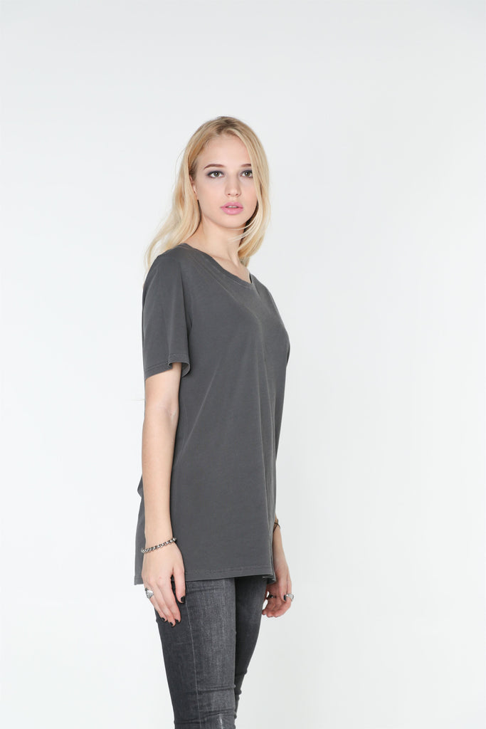 Dark Grey Washed Out T-SHIRT