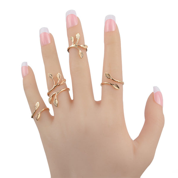 4 piece leaf ring set