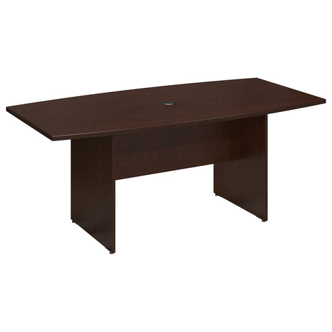 Bush Business Furniture 72W x 36D Boat Shaped Conference Table with Wood Base | Mocha Cherry