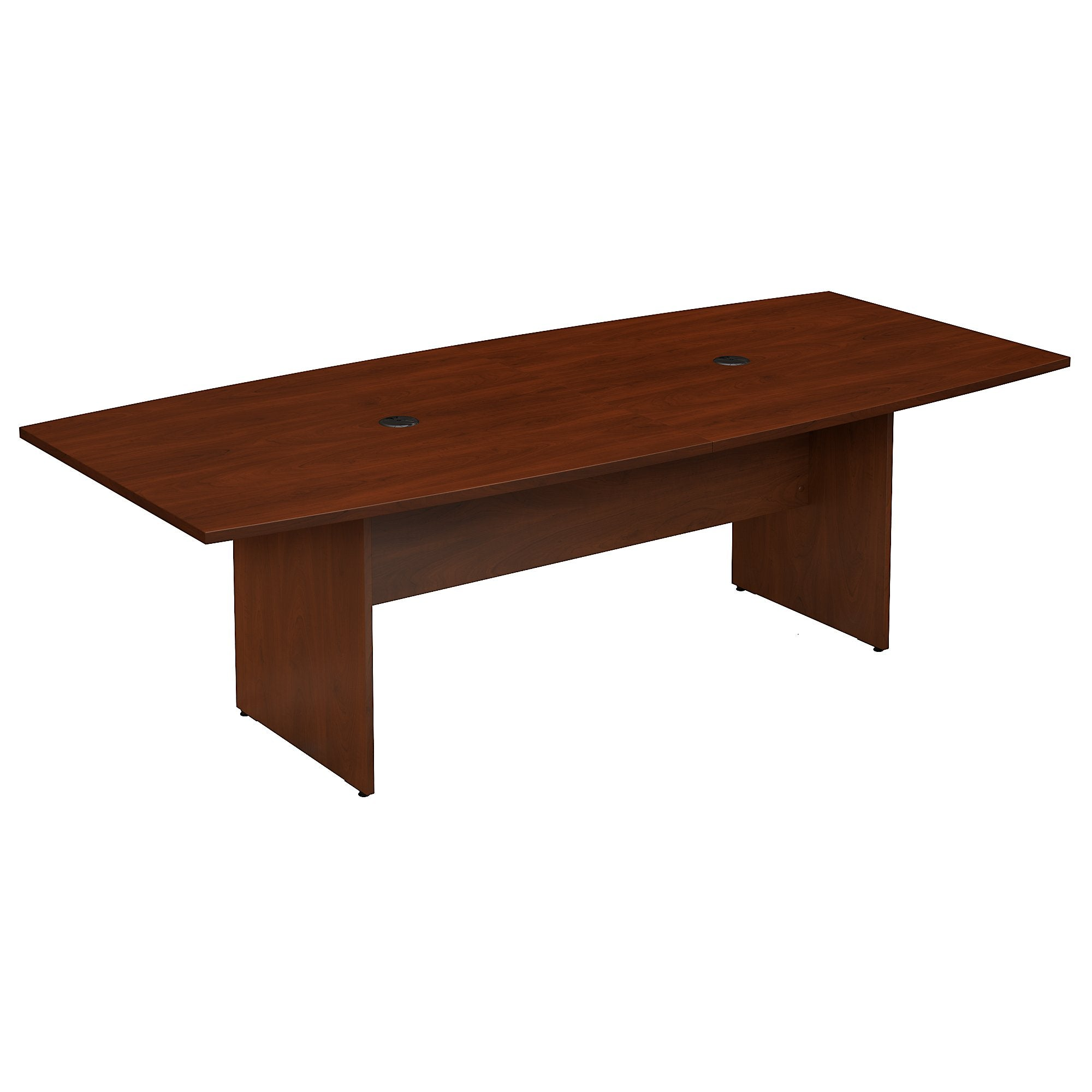 Bush Business Furniture 96W x 42D Boat Shaped Conference Table with Wood Base | Hansen Cherry