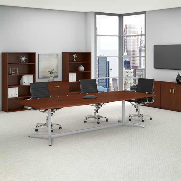 Bush Business Furniture 120W x 48D Boat Shaped Conference Table with Metal Base | Hansen Cherry