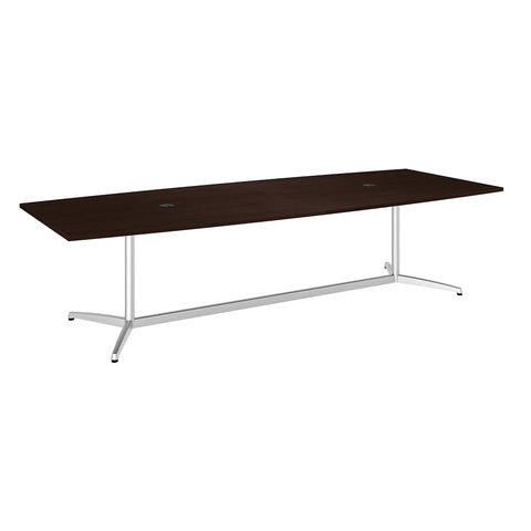 Bush Business Furniture 120W x 48D Boat Shaped Conference Table with Metal Base | Mocha Cherry/Silver