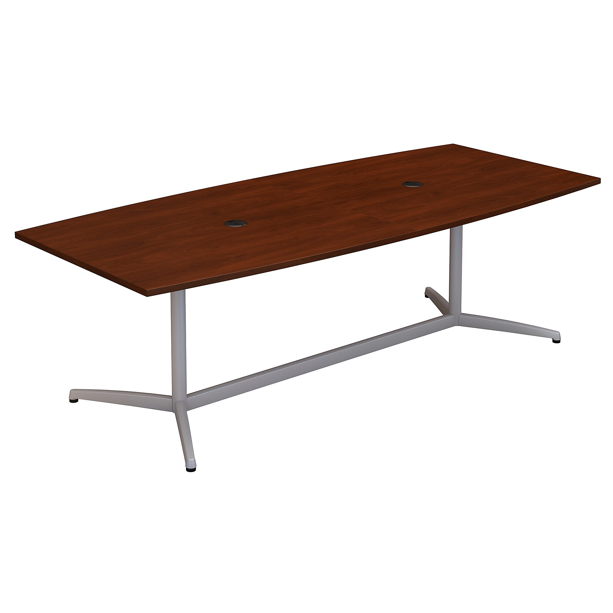 Bush Business Furniture 96W x 42D Boat Shaped Conference Table with Metal Base | Hansen Cherry
