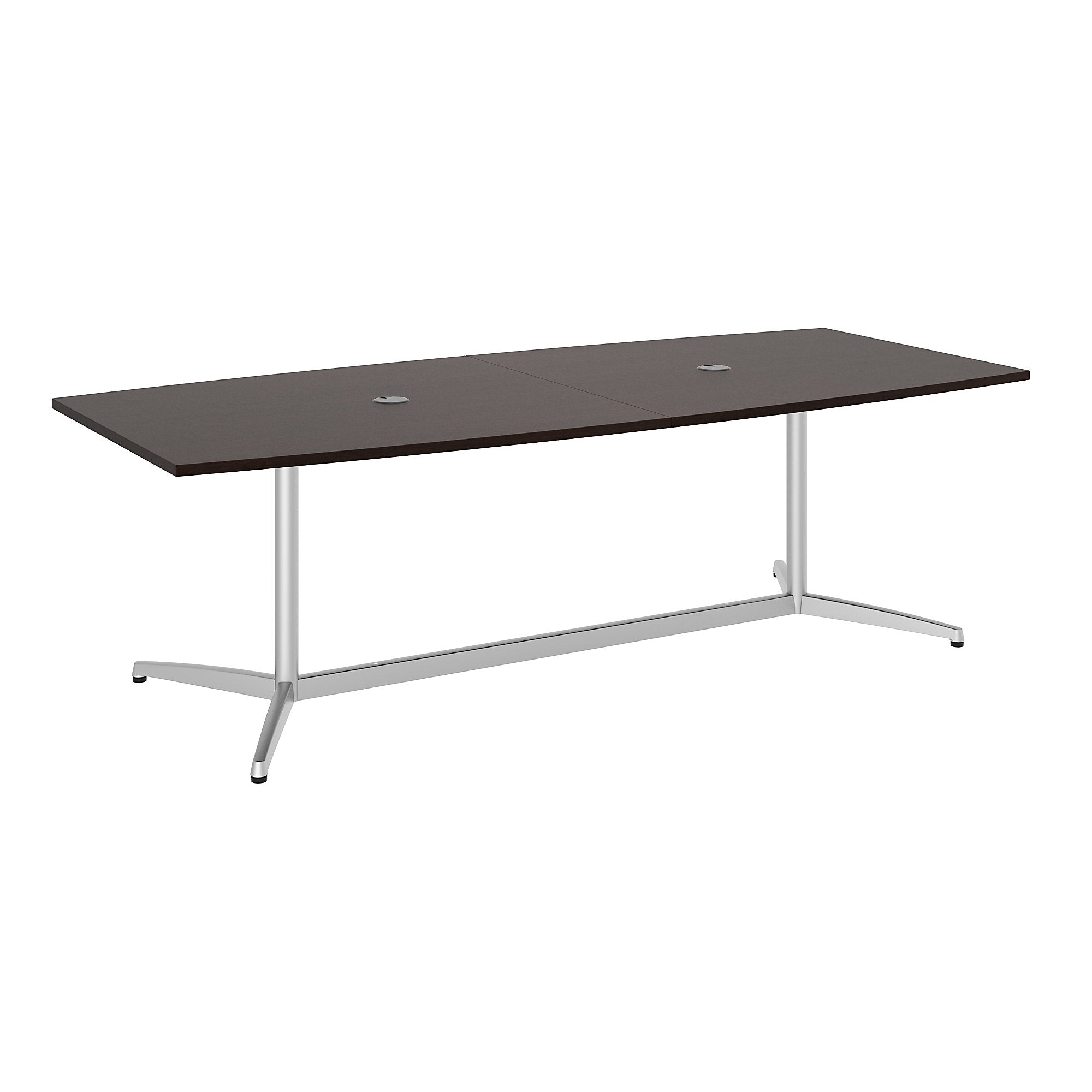 Bush Business Furniture 96W x 42D Boat Shaped Conference Table with Metal Base | Mocha Cherry/Silver