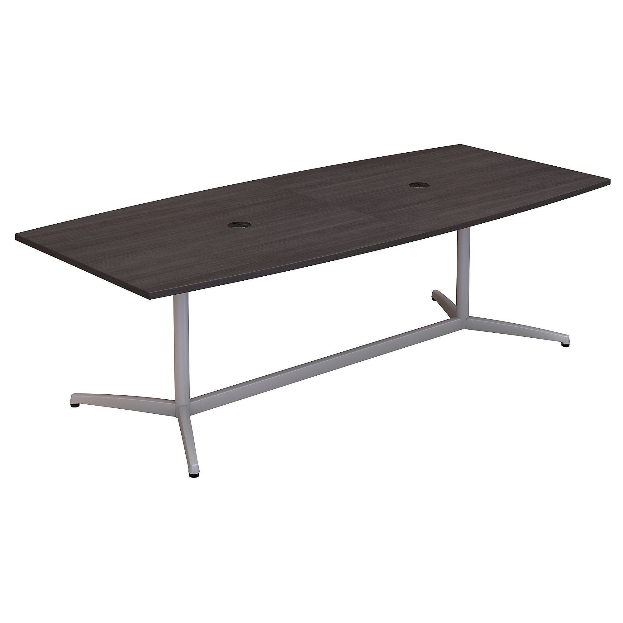 Bush Business Furniture 96W x 42D Boat Shaped Conference Table with Metal Base | Storm Gray