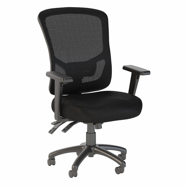 Bush Business Furniture Custom Comfort High Back Multifunction Mesh Executive Office Chair | Black Nylon Mesh