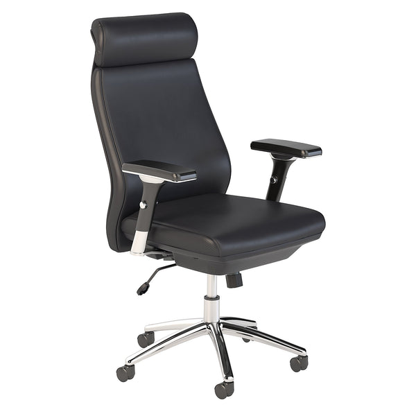 Bush Business Furniture Metropolis High Back Leather Executive Office Chair | Black Leather
