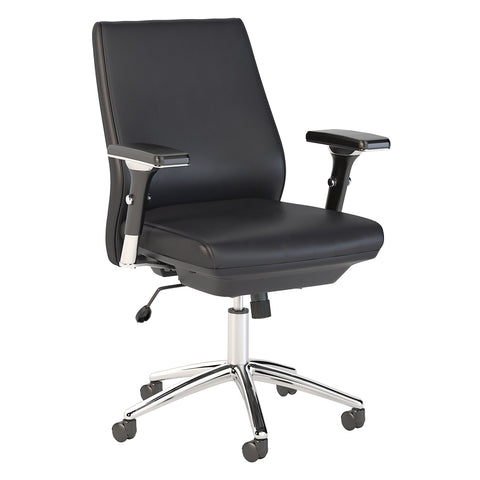 Bush Business Furniture Metropolis Mid Back Leather Executive Office Chair | Black Leather