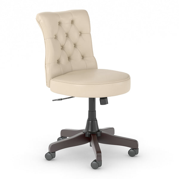 Bush Business Furniture Arden Lane Mid Back Tufted Office Chair | Antique White Leather