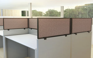 Cubicle Panel Extenders Medium Tone Frame Almond Fabric