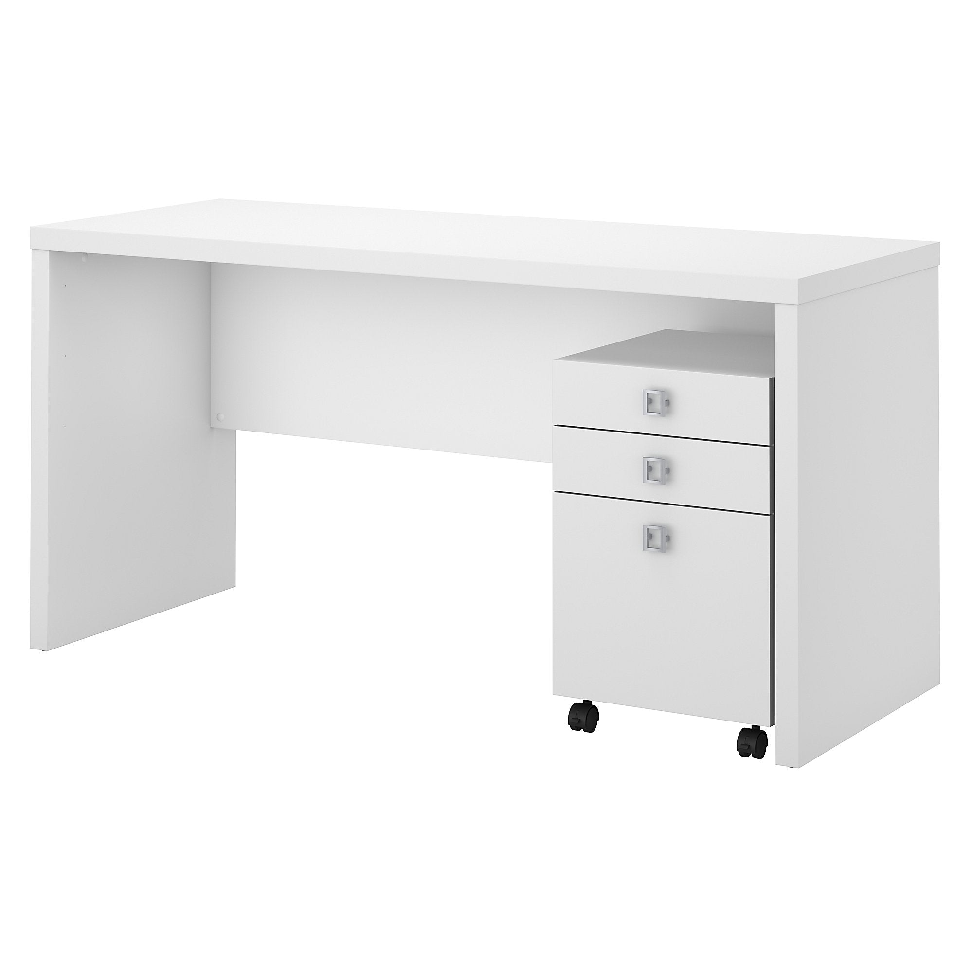Office by kathy ireland® Echo Credenza Desk with Mobile File Cabinet | Pure White