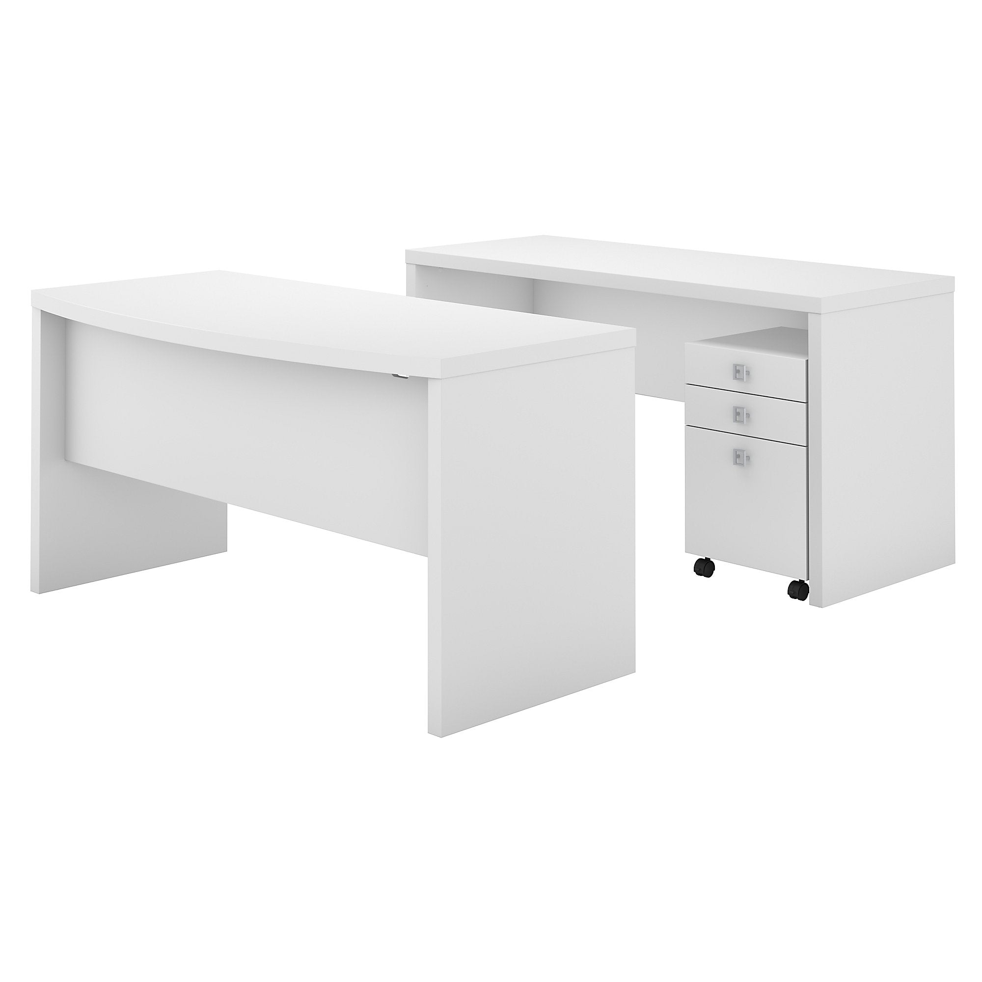 Office by kathy ireland® Echo Bow Front Desk and Credenza with Mobile File Cabinet | Pure White