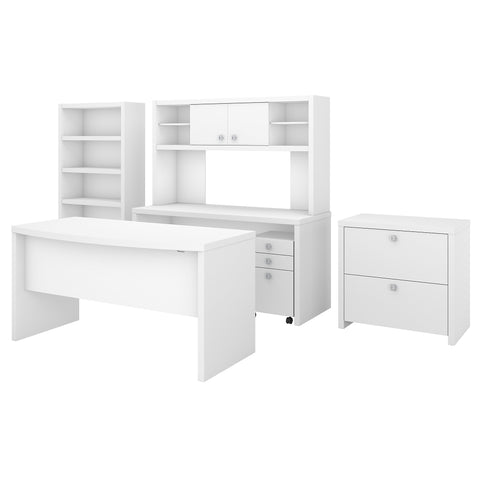 Office by kathy ireland® Echo Bow Front Desk, Credenza with Hutch, Bookcase and File Cabinets | Pure White
