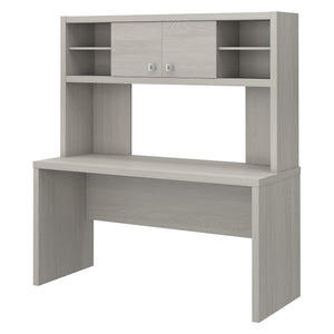 Office by kathy ireland® Echo 60W Credenza Desk with Hutch | Gray Sand