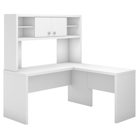 Office by kathy ireland® Echo L Shaped Desk with Hutch | Pure White