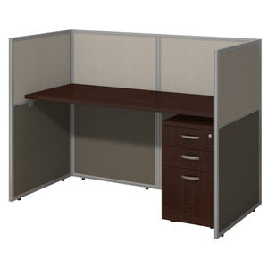 Bush Business Furniture Easy Office 60W Straight Desk Closed Office with Mobile File Cabinet | Mocha Cherry