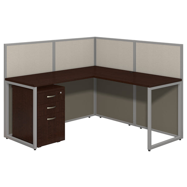 Bush Business Furniture Easy Office 60W L Shaped Desk Open Office with Mobile File Cabinet | Mocha Cherry