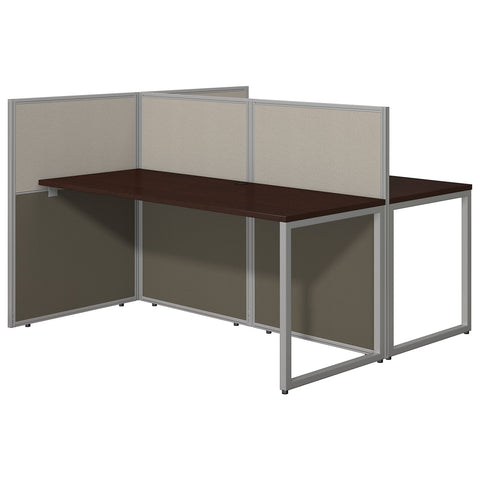 Bush Business Furniture Easy Office 60W Two Person Straight Desk Open Office | Mocha Cherry