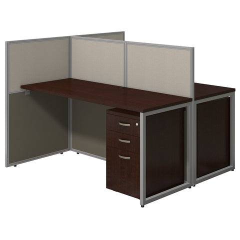 Bush Business Furniture Easy Office 60W Two Person Straight Desk Open Office with Mobile File Cabinets | Mocha Cherry