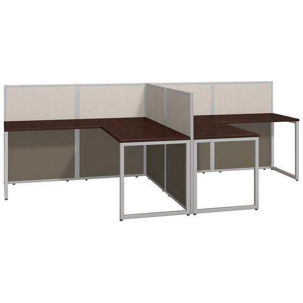 Bush Business Furniture Easy Office 60W Two Person L Shaped Desk Open Office | Mocha Cherry