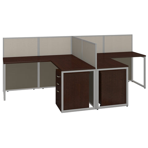 Bush Business Furniture Easy Office 60W Two Person L Shaped Desk Open Office with Mobile File Cabinets | Mocha Cherry