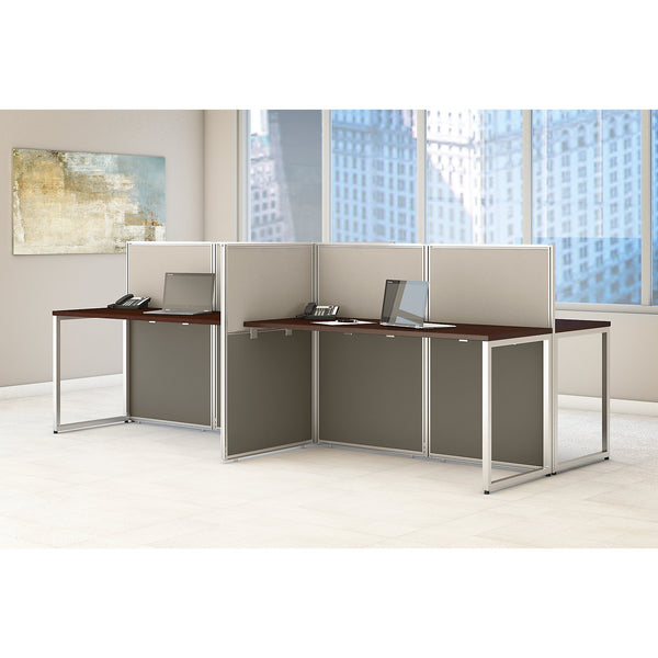 Bush Business Furniture Easy Office 60W 4 Person Straight Desk Open Office | Mocha Cherry